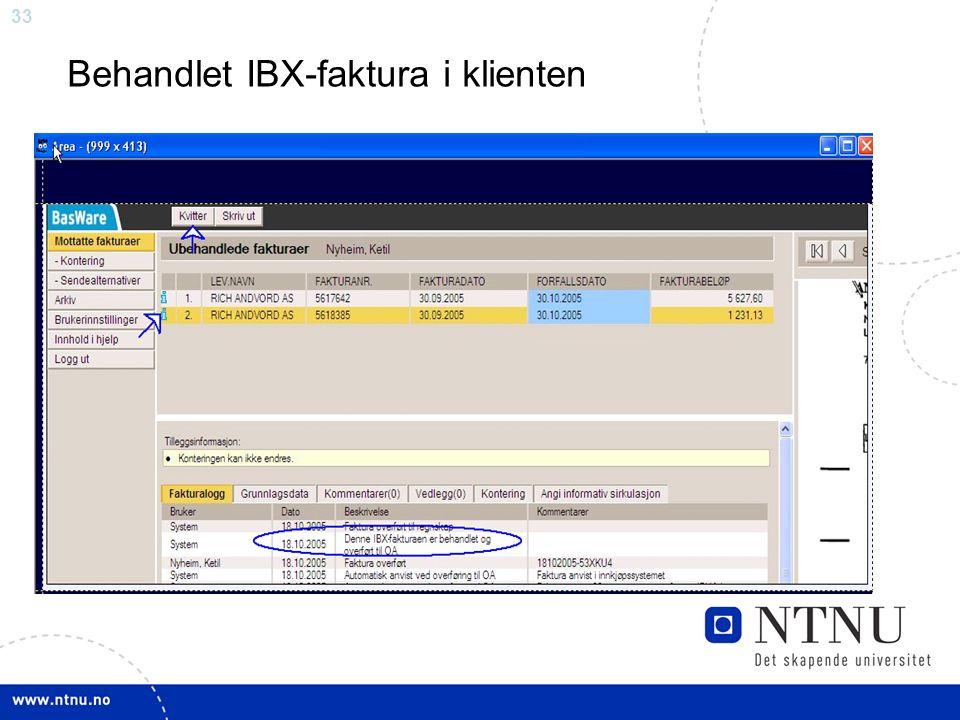 Behandlet IBX-faktura i klienten