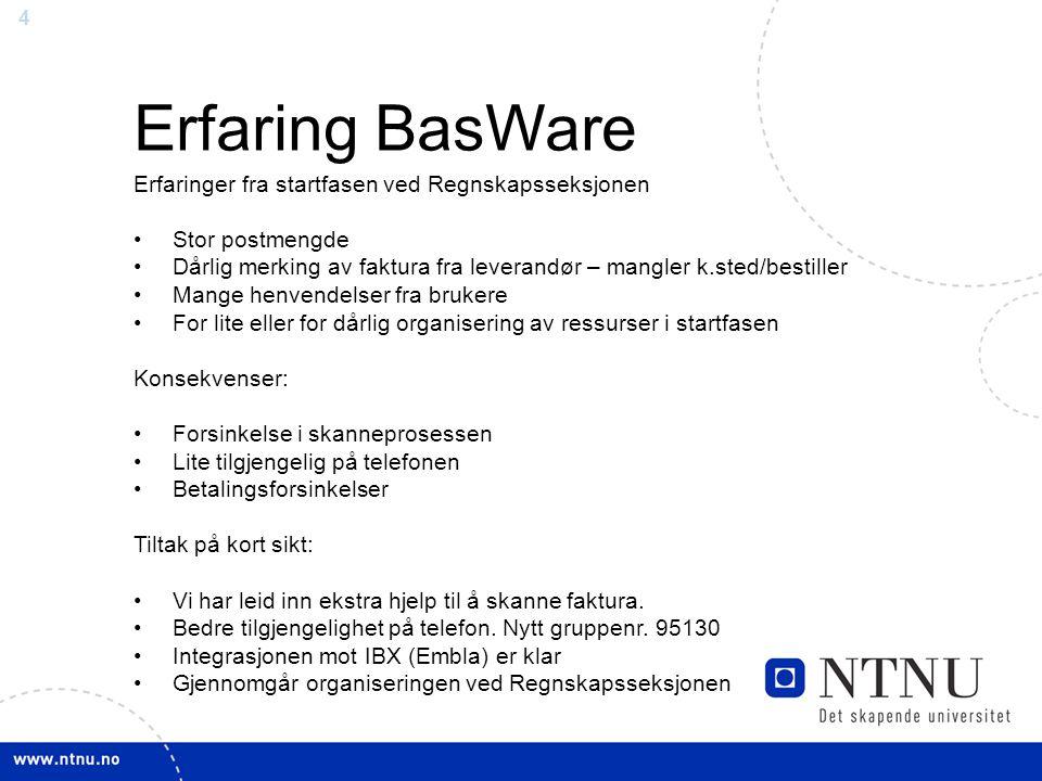 Erfaring BasWare Erfaringer fra startfasen ved Regnskapsseksjonen
