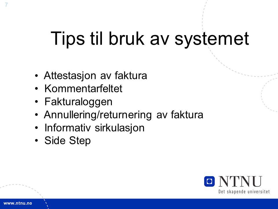 Tips til bruk av systemet