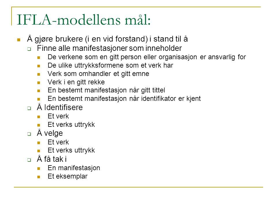 IFLA-modellens mål: Å gjøre brukere (i en vid forstand) i stand til å