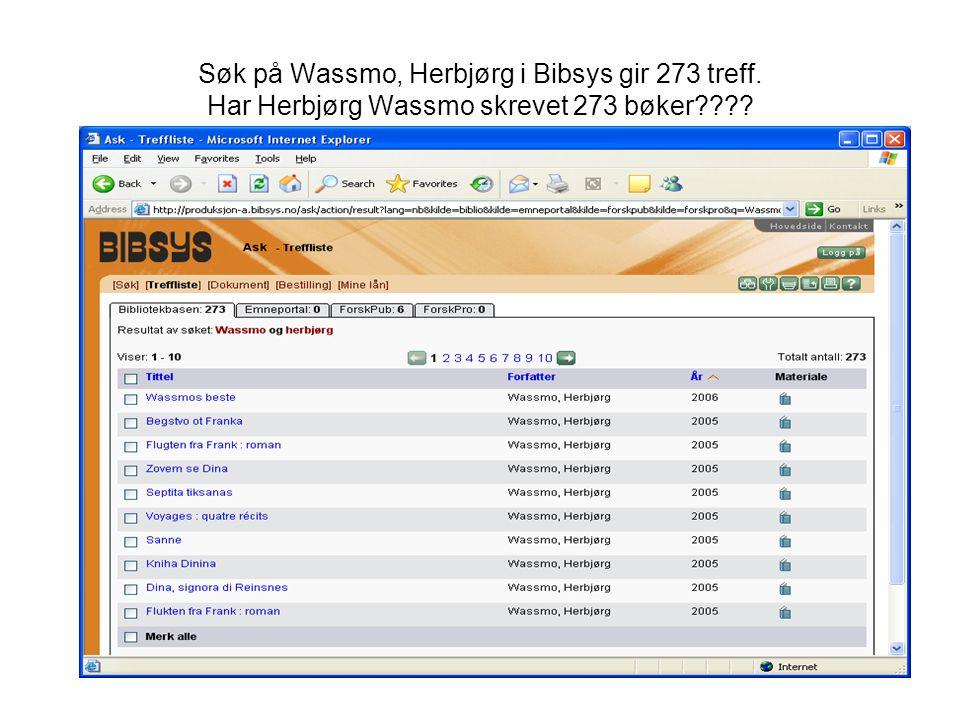 Søk på Wassmo, Herbjørg i Bibsys gir 273 treff