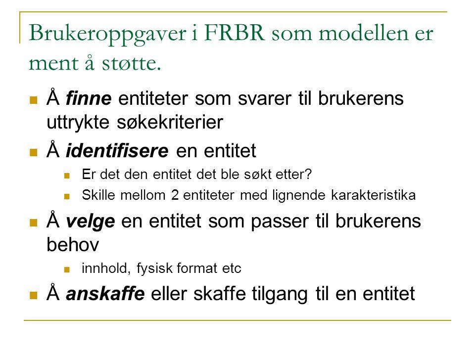 Brukeroppgaver i FRBR som modellen er ment å støtte.