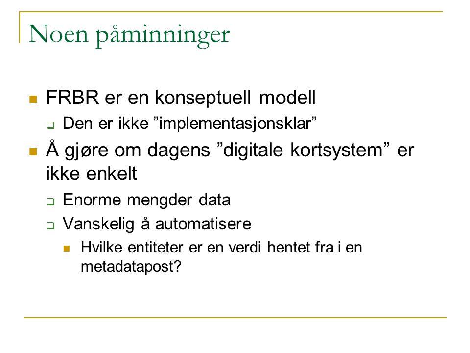 Noen påminninger FRBR er en konseptuell modell