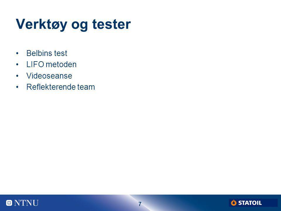 Verktøy og tester Belbins test LIFO metoden Videoseanse