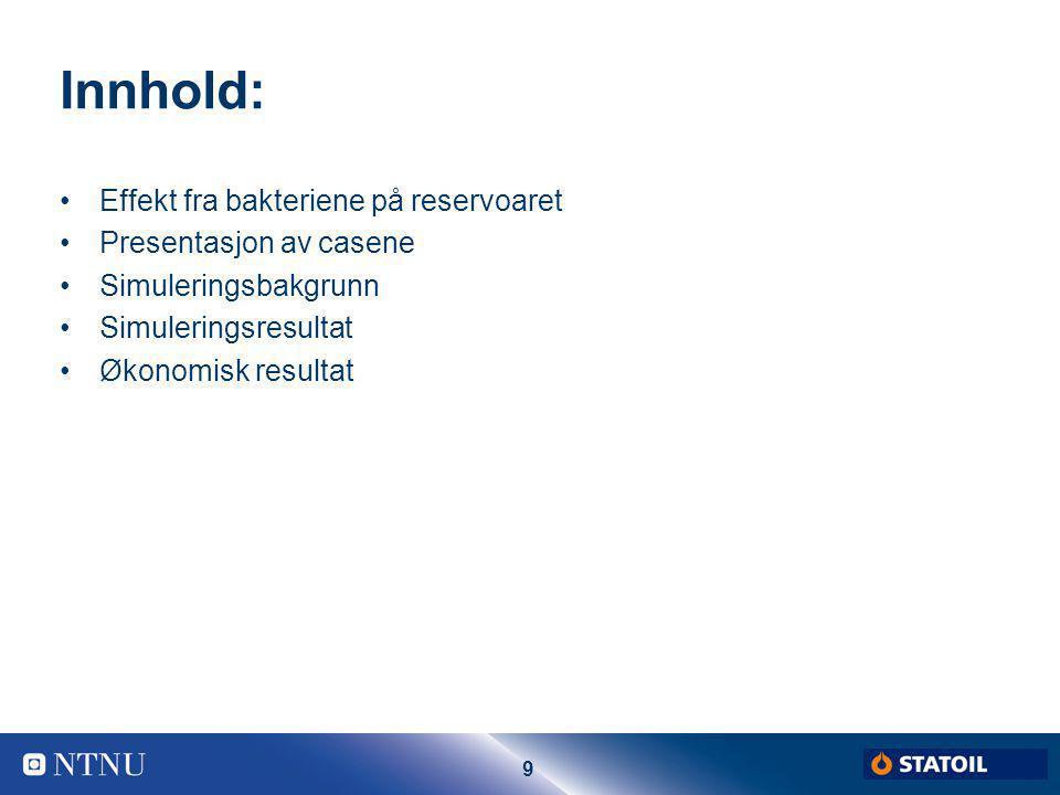 Innhold: Effekt fra bakteriene på reservoaret Presentasjon av casene