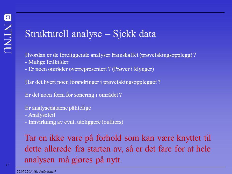 Strukturell analyse – Sjekk data