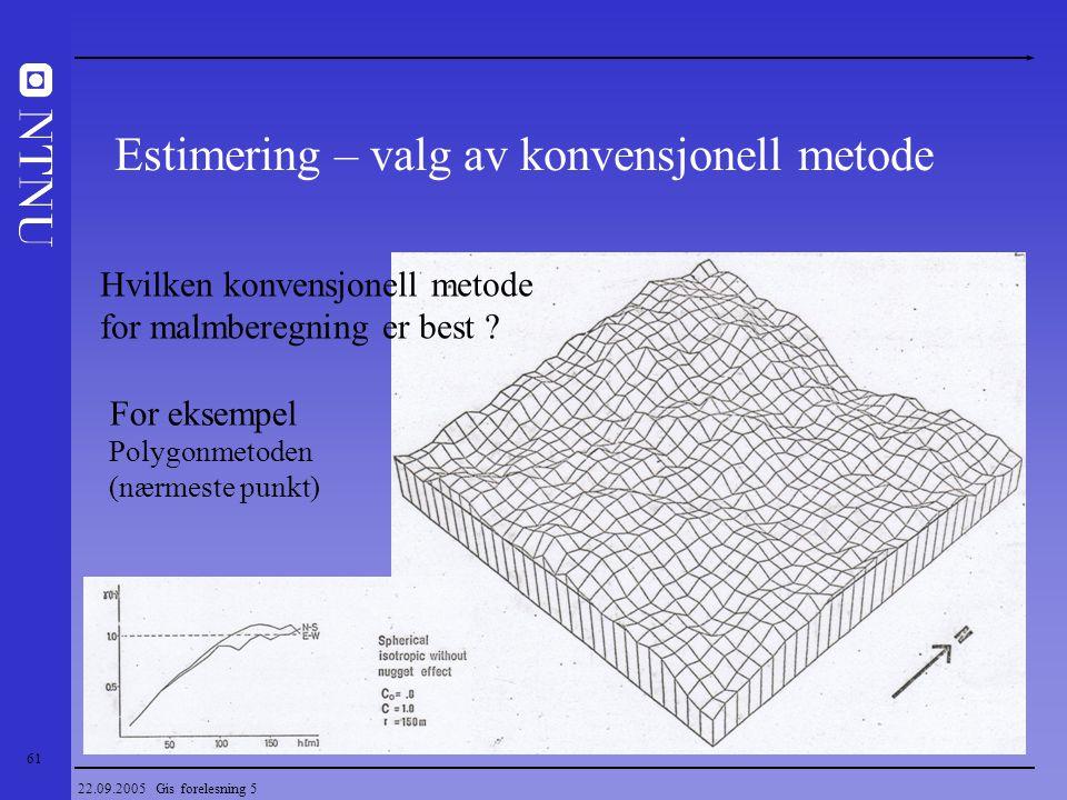 Estimering – valg av konvensjonell metode
