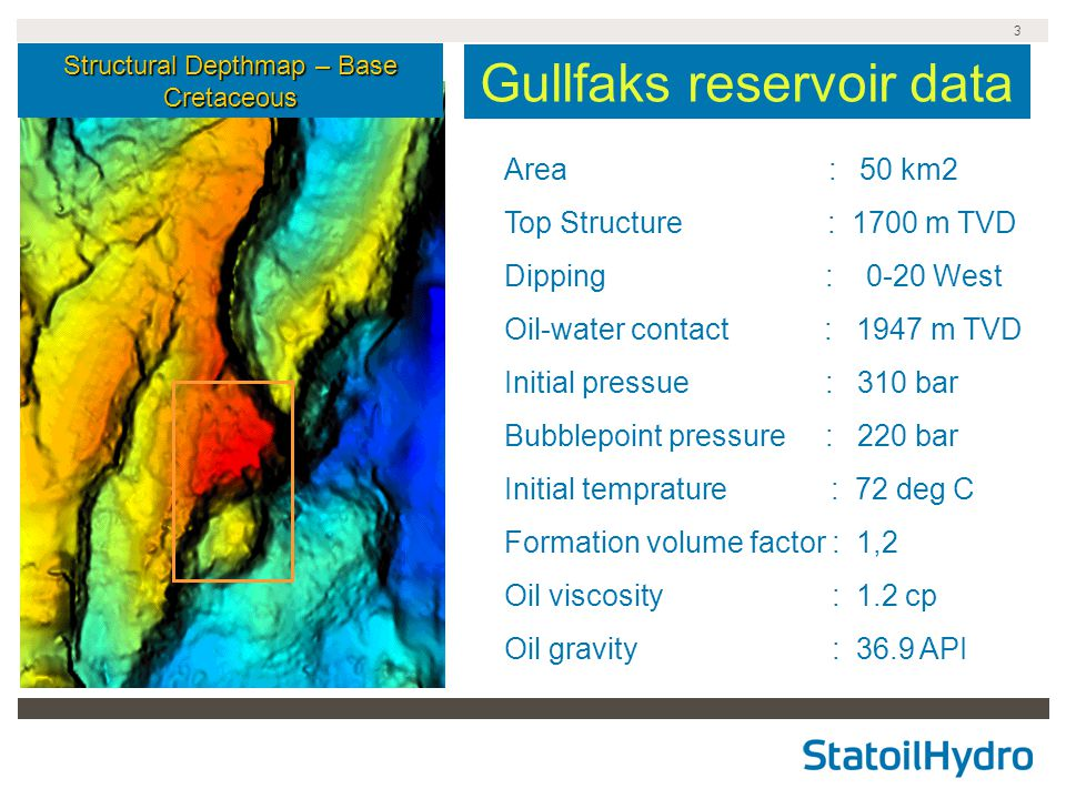 Gullfaks reservoir data