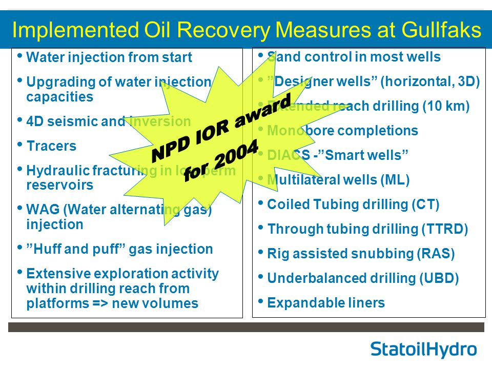 Implemented Oil Recovery Measures at Gullfaks