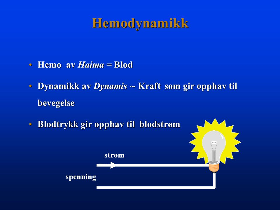 Hemodynamikk Hemo av Haima = Blod