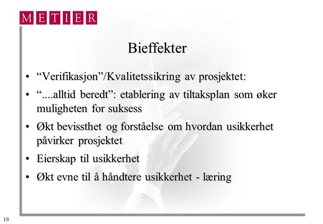 Bieffekter Verifikasjon /Kvalitetssikring av prosjektet: