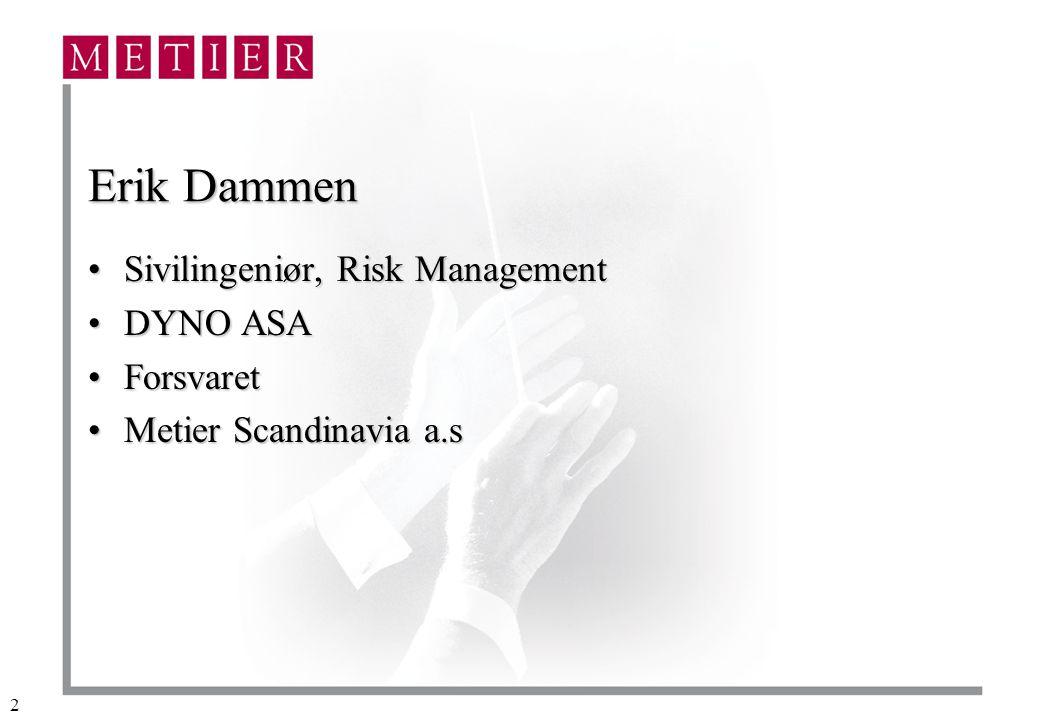 Erik Dammen Sivilingeniør, Risk Management DYNO ASA Forsvaret