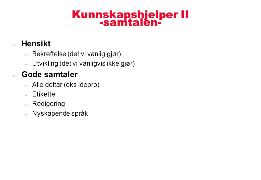 Kunnskapshjelper II -samtalen-