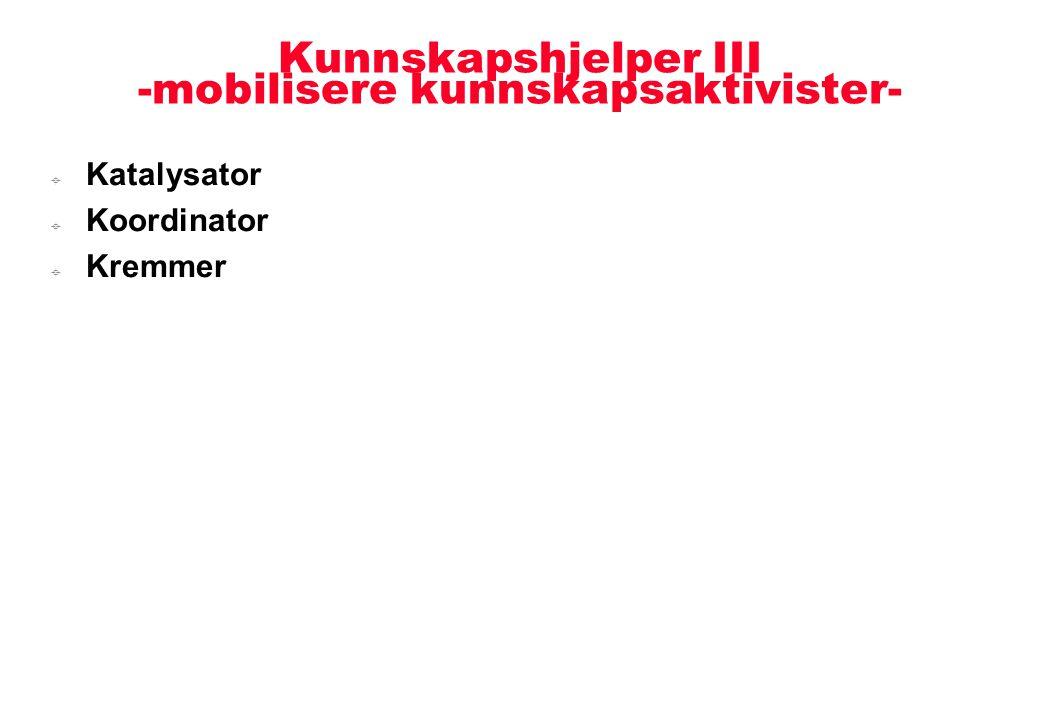 Kunnskapshjelper III -mobilisere kunnskapsaktivister-