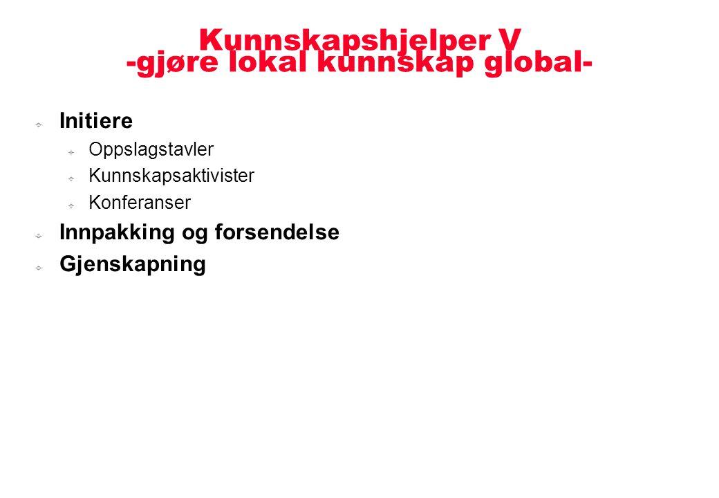 Kunnskapshjelper V -gjøre lokal kunnskap global-