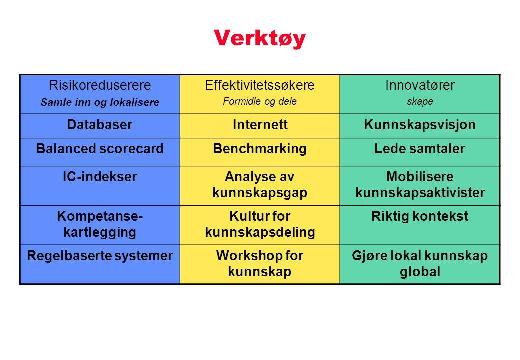 Verktøy Risikoreduserere Effektivitetssøkere Innovatører Databaser