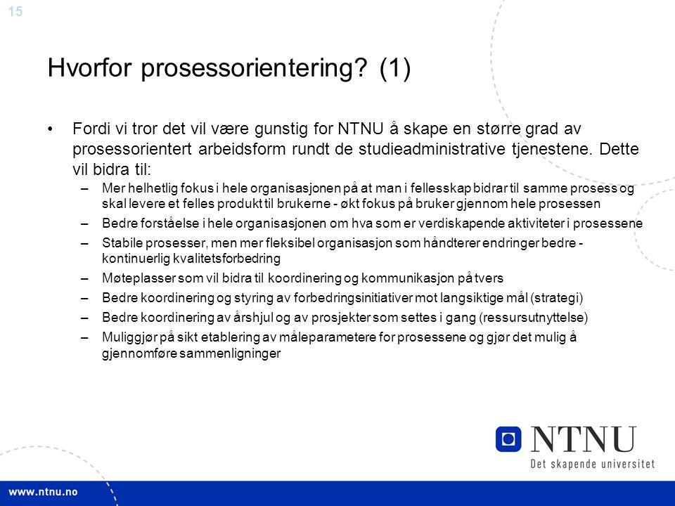 Hvorfor prosessorientering (1)