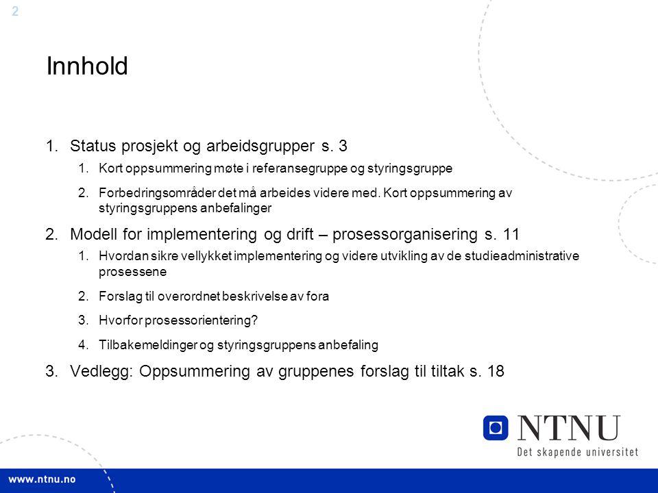 Innhold Status prosjekt og arbeidsgrupper s. 3