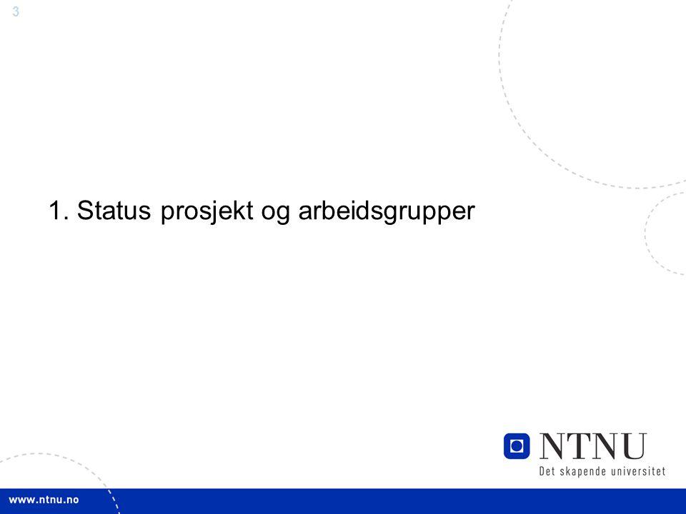 1. Status prosjekt og arbeidsgrupper