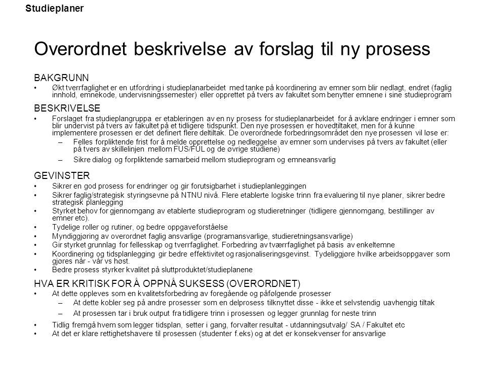 Overordnet beskrivelse av forslag til ny prosess
