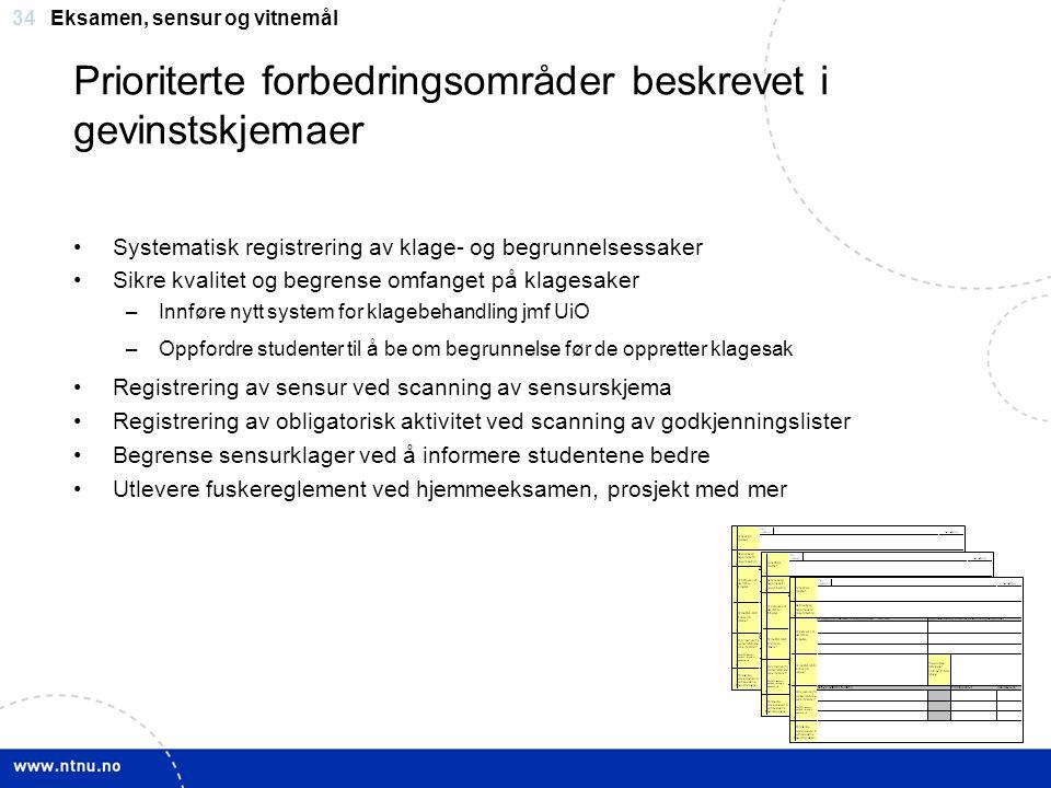 Prioriterte forbedringsområder beskrevet i gevinstskjemaer