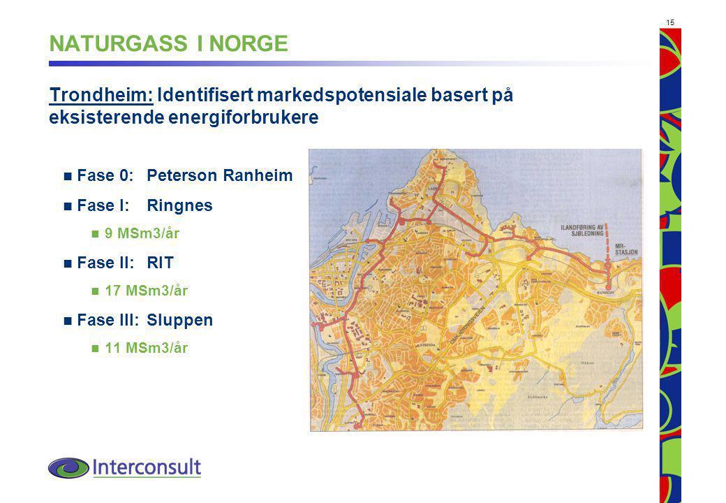 NATURGASS I NORGE Trondheim: Identifisert markedspotensiale basert på eksisterende energiforbrukere.