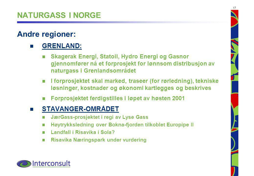 NATURGASS I NORGE Andre regioner: GRENLAND: STAVANGER-OMRÅDET