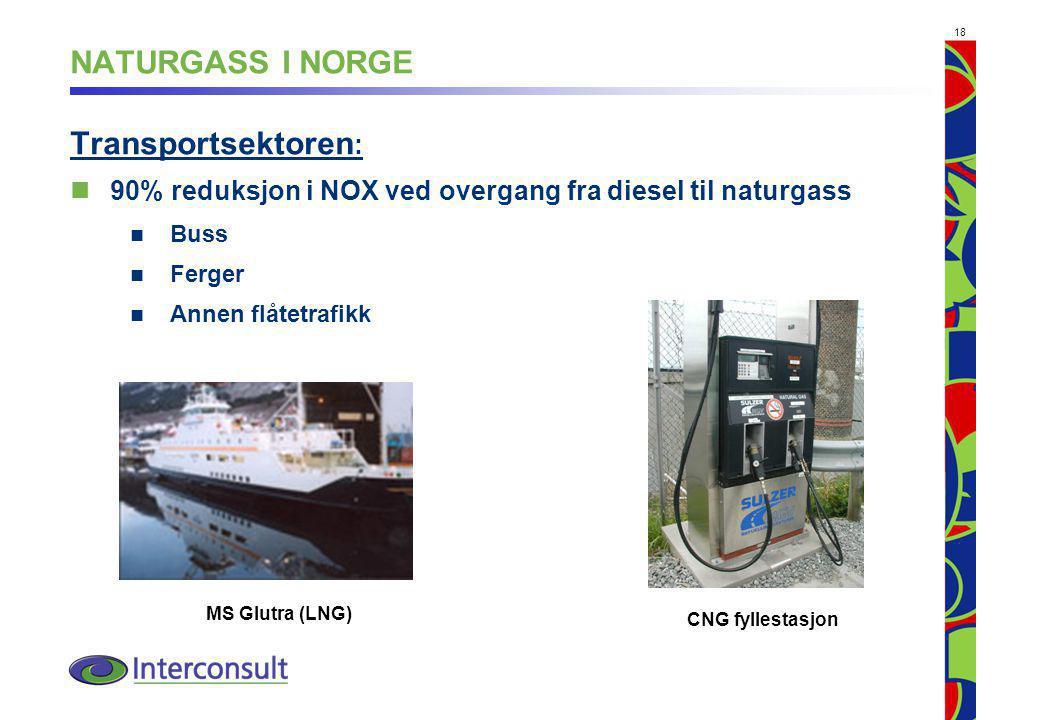 NATURGASS I NORGE Transportsektoren: