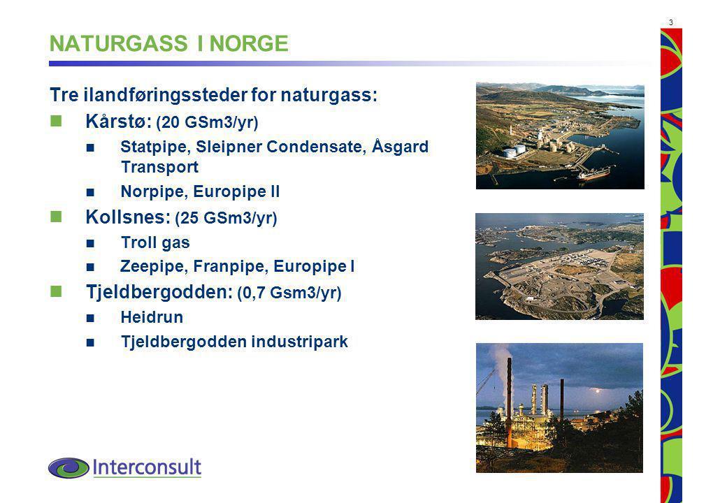 NATURGASS I NORGE Tre ilandføringssteder for naturgass: