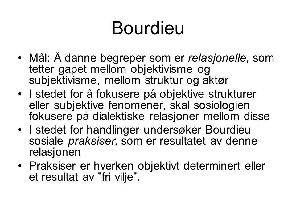 Bourdieu Mål: Å danne begreper som er relasjonelle, som tetter gapet mellom objektivisme og subjektivisme, mellom struktur og aktør.