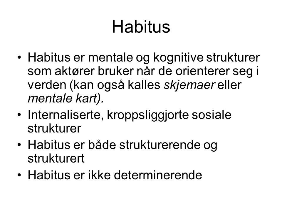 Habitus Habitus er mentale og kognitive strukturer som aktører bruker når de orienterer seg i verden (kan også kalles skjemaer eller mentale kart).