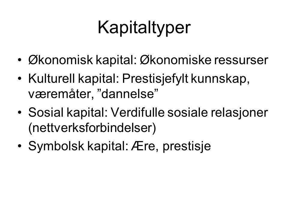 Kapitaltyper Økonomisk kapital: Økonomiske ressurser
