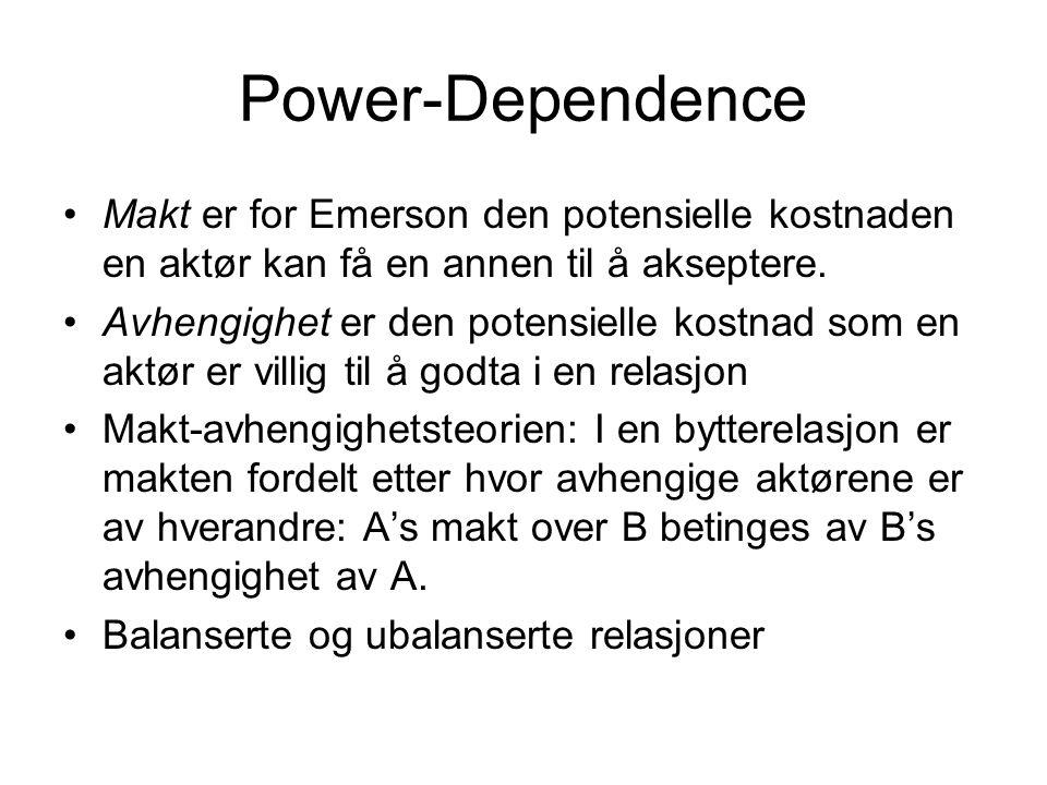 Power-Dependence Makt er for Emerson den potensielle kostnaden en aktør kan få en annen til å akseptere.
