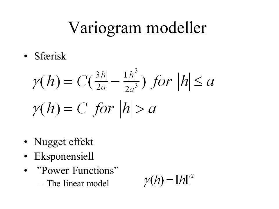 Variogram modeller Sfærisk Nugget effekt Eksponensiell