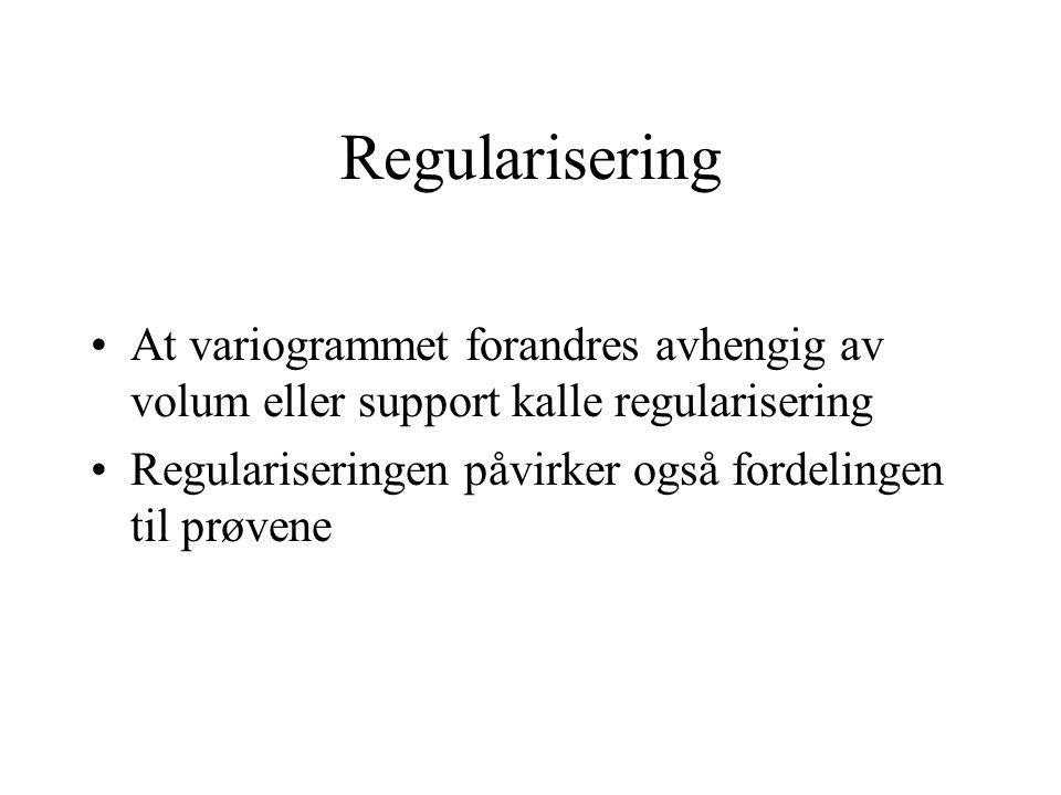 Regularisering At variogrammet forandres avhengig av volum eller support kalle regularisering.