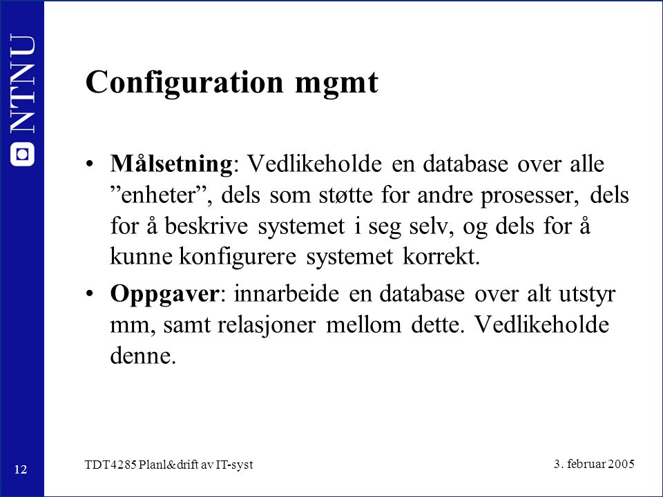 Configuration mgmt