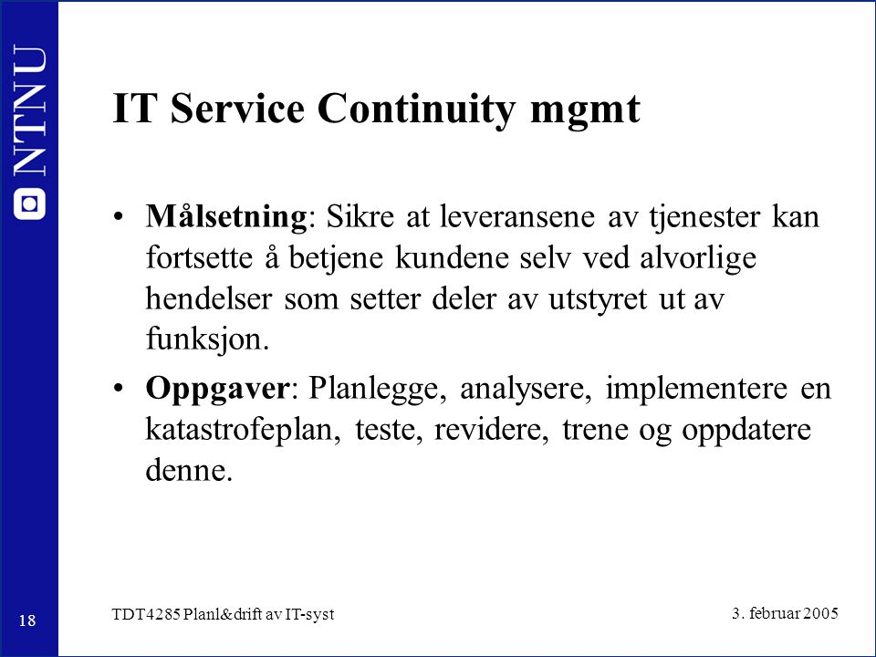 IT Service Continuity mgmt