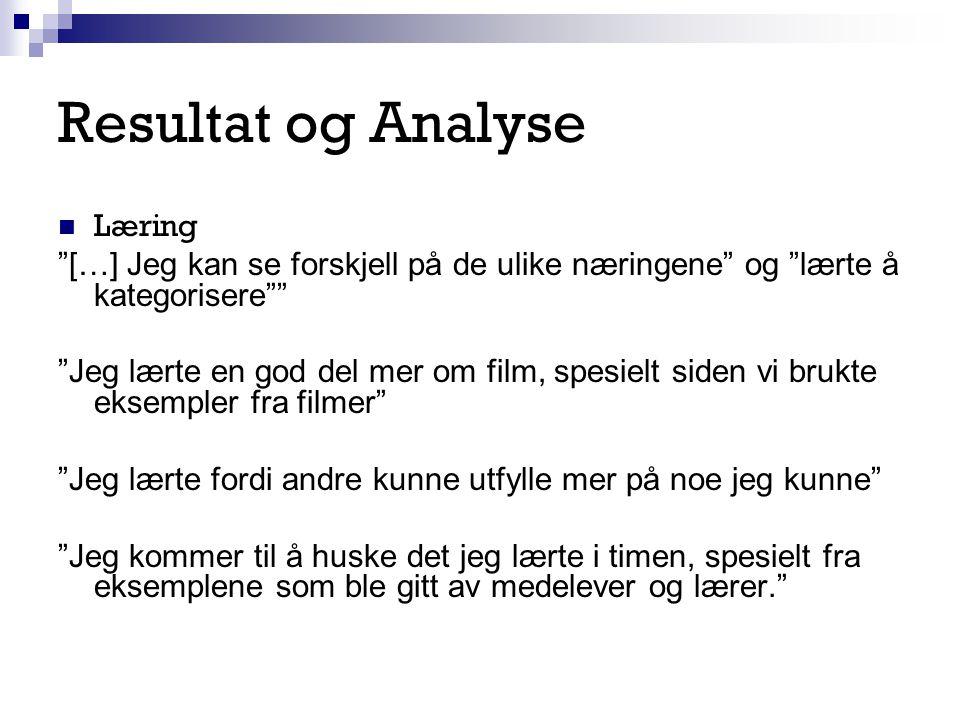 Resultat og Analyse Læring
