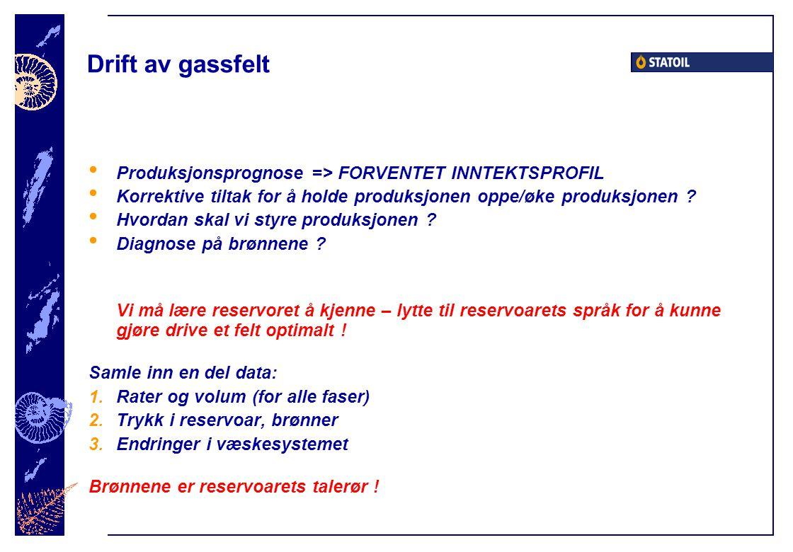 Drift av gassfelt Produksjonsprognose => FORVENTET INNTEKTSPROFIL