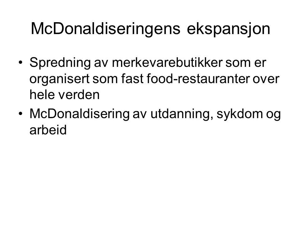 McDonaldiseringens ekspansjon
