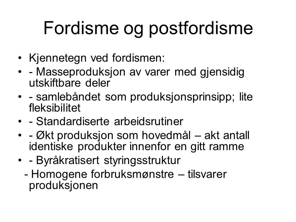 Fordisme og postfordisme