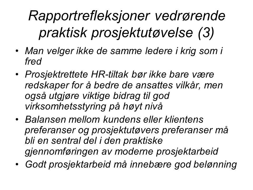 Rapportrefleksjoner vedrørende praktisk prosjektutøvelse (3)