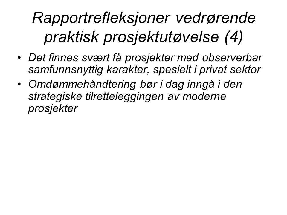 Rapportrefleksjoner vedrørende praktisk prosjektutøvelse (4)