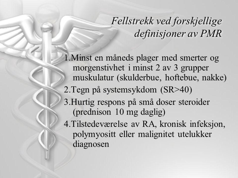 Fellstrekk ved forskjellige definisjoner av PMR