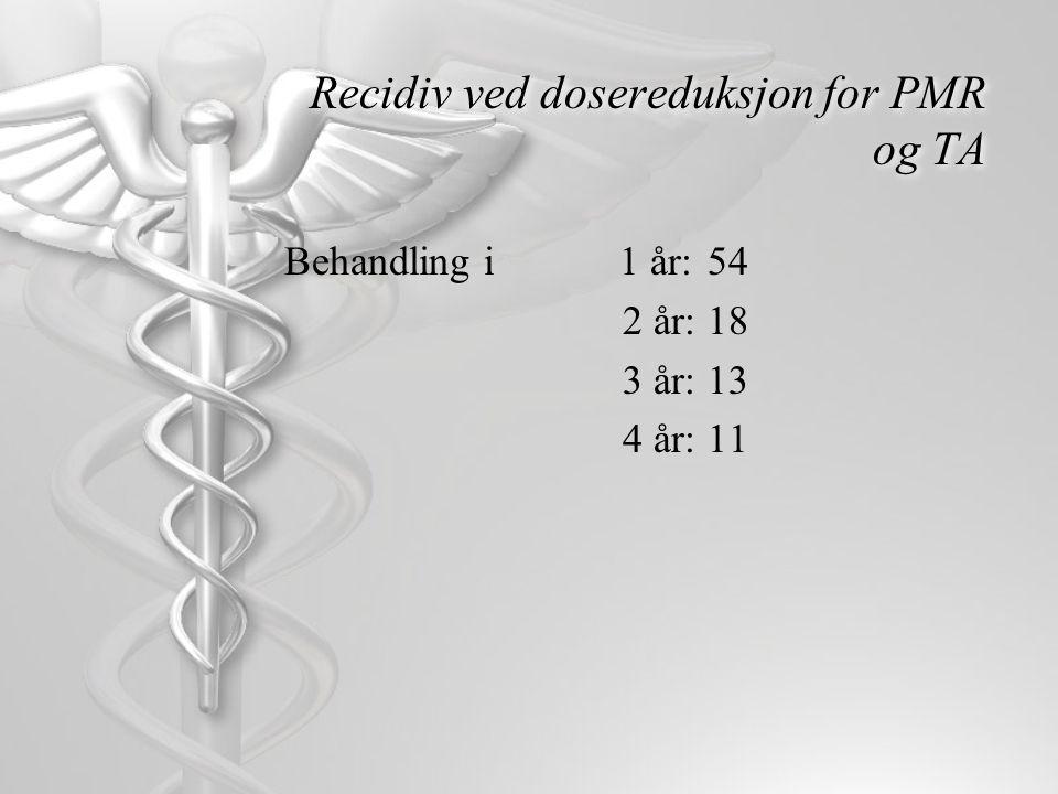 Recidiv ved dosereduksjon for PMR og TA
