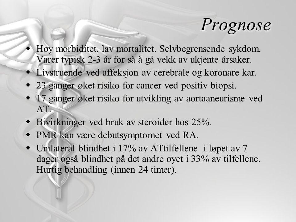 Prognose Høy morbiditet, lav mortalitet. Selvbegrensende sykdom. Varer typisk 2-3 år for så å gå vekk av ukjente årsaker.