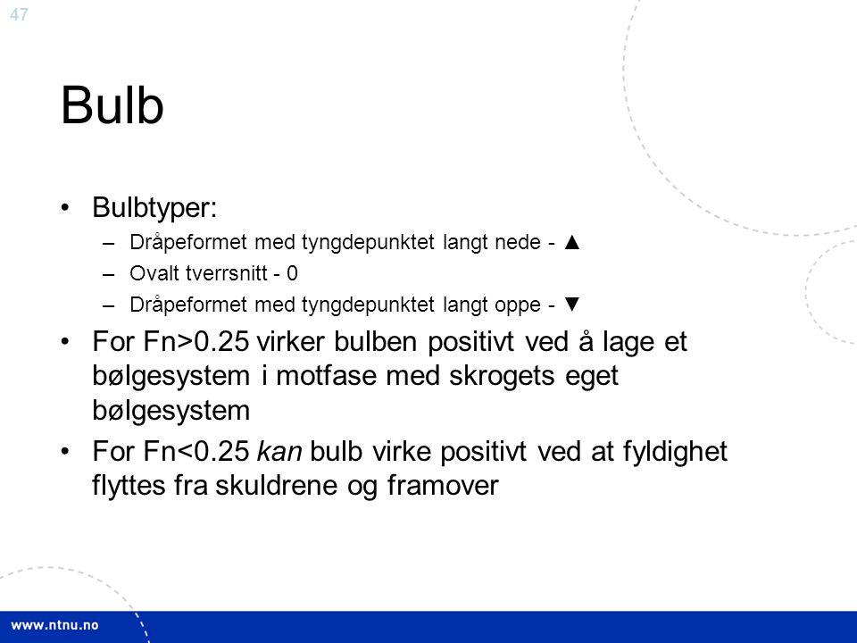 Bulb Bulbtyper: Dråpeformet med tyngdepunktet langt nede - ▲ Ovalt tverrsnitt - 0. Dråpeformet med tyngdepunktet langt oppe - ▼