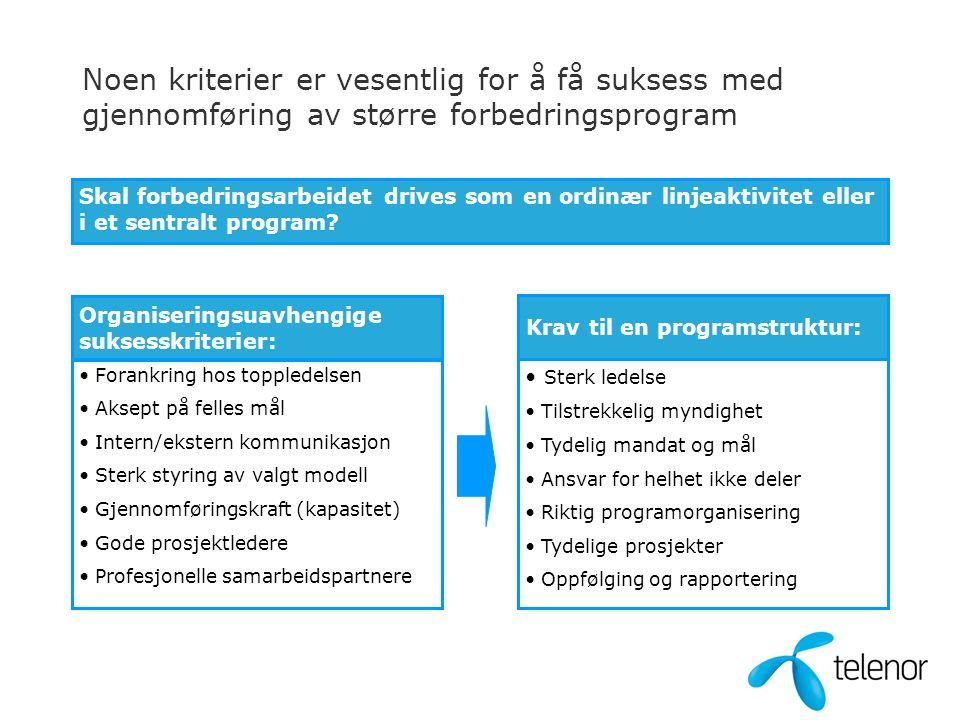 Noen kriterier er vesentlig for å få suksess med gjennomføring av større forbedringsprogram