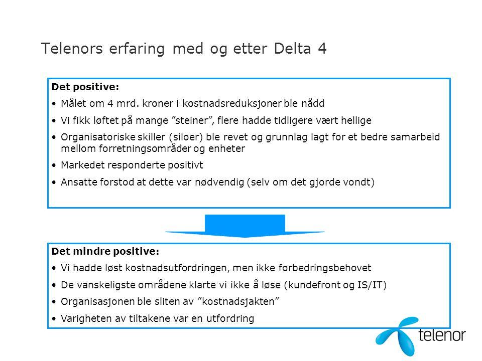 Telenors erfaring med og etter Delta 4