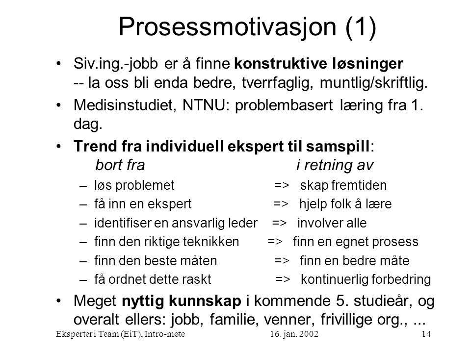 Prosessmotivasjon (1) Siv.ing.-jobb er å finne konstruktive løsninger -- la oss bli enda bedre, tverrfaglig, muntlig/skriftlig.